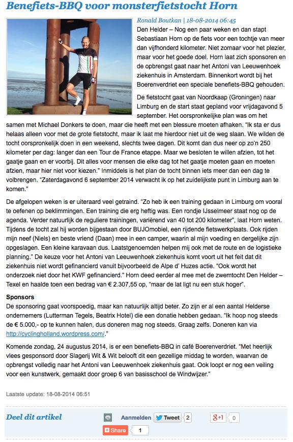 Artikel Den Helder Actueel 18 augustus 2014