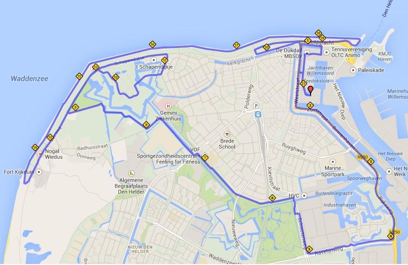 Plaatje Den Helder route hardlopen 2014 map